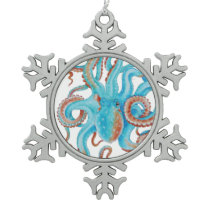 Teal Blue Octopus Watercolor Snowflake Pewter Christmas Ornament