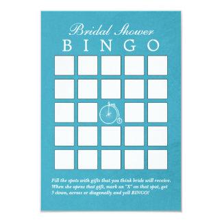 Teal Blue Old Bike Bridal Shower Bingo Cards