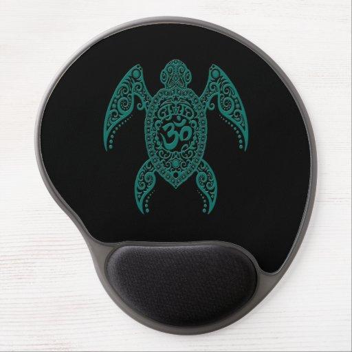 Teal Blue Om Sea Turtle on Black Gel Mousepads