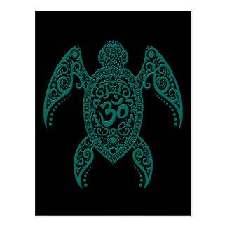 Teal Blue Om Sea Turtle on Black Postcard