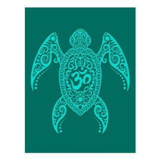 Teal Blue Om Sea Turtle Postcard