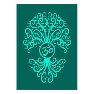Teal Blue Om Tree Business Cards