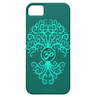 Teal Blue Om Tree iPhone 5 Cases