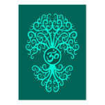 Teal Blue Om Tree Large Business Cards (Pack Of 100)