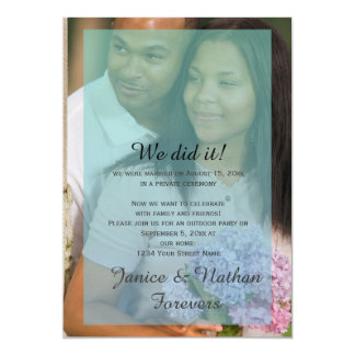 Teal Blue Ombre Overlay Photo Reception Only Card