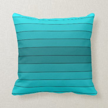 sterlingnights Teal Blue Ombre stripes black Throw Pillow