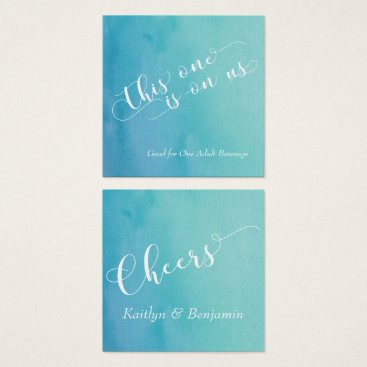 Beach Themed Teal & Blue Ombre Watercolor Drink Tickets