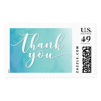 Teal & Blue Ombre Watercolor Typography Thank You Postage