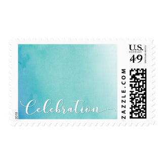 Teal & Blue Ombre Watercolor Wedding Celebration Postage