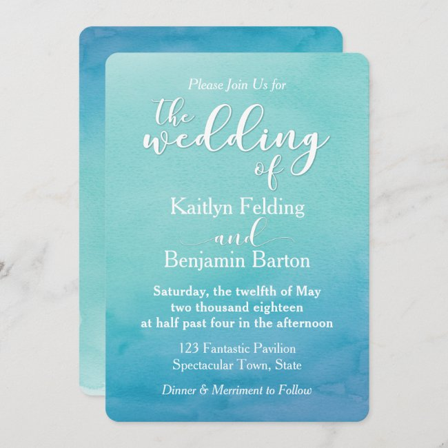 Teal & Blue Ombre Watercolor Wedding Invitation 1a