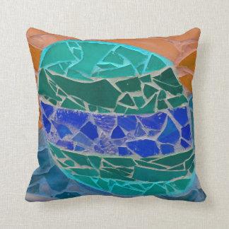 teal blue orange mosiac pillow
