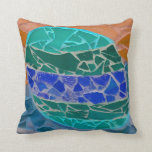 teal blue orange mosiac pillows