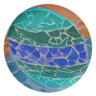 teal blue orange mosiac plate
