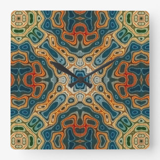 Teal Blue Orange Yellow Green Hip Orient Bali Art Square Wall Clock
