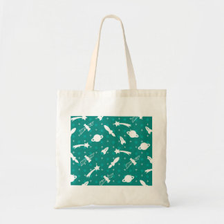 Teal Blue Outer Space Astronaut Planets Stars Tote Bags