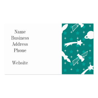 Teal Blue Outer Space Astronaut Planets Stars Business Card