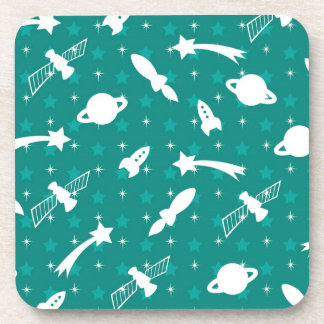 Teal Blue Outer Space Astronaut Planets Stars Coaster