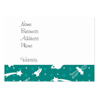 Teal Blue Outer Space Astronaut Planets Stars Large Business Card
