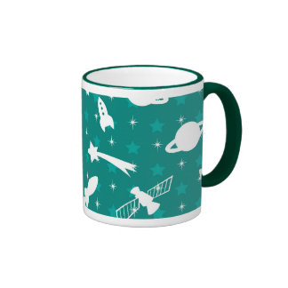 Teal Blue Outer Space Astronaut Planets Stars Mugs