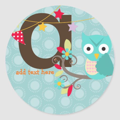 Teal/Blue Owl/DIY color/add monogram Round Stickers