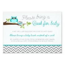 Teal Blue Owl Gray Chevron Baby Shower Book Card