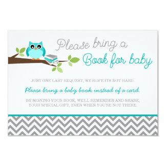 Teal Blue Owl Gray Chevron Baby Shower Book Card