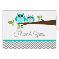 Teal Blue Owl Gray Chevron Baby Shower Thank You Card
