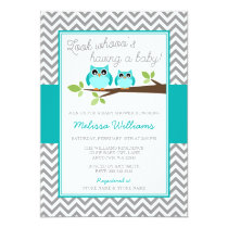 Teal Blue Owl Gray Chevron Boy Baby Shower Card