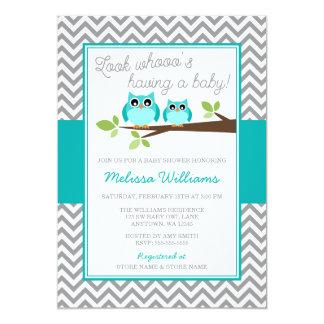 Teal Blue Owl Gray Chevron Boy Baby Shower Card