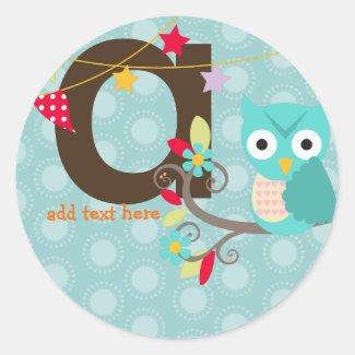 Teal + Blue Owl stickers/add monogram sticker