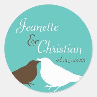 Teal blue pair love birds wedding favor seal label classic round sticker
