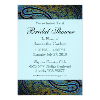 Teal Blue Paisley Peacock Bridal Shower Personalized Invitation
