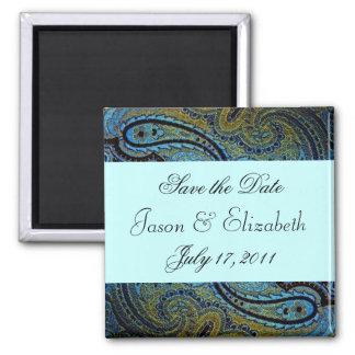 Teal Blue Paisley Peacock Wedding Invitations Fridge Magnets
