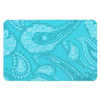 Teal Blue Paisley Print Summer Fun Girly Pattern Magnets