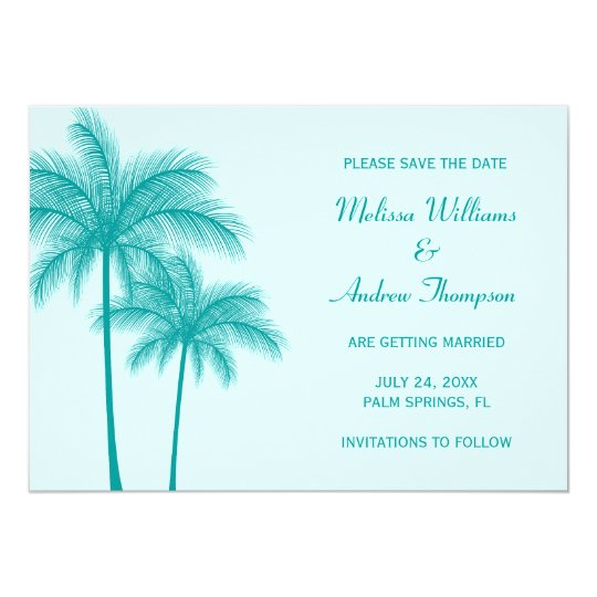 Teal Blue Palm Tree Save the Date Announcement