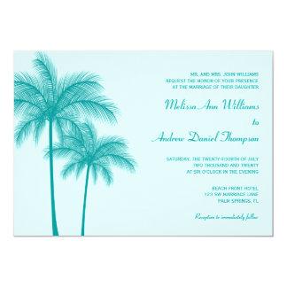 Teal Blue Palm Tree Tropical Wedding Card