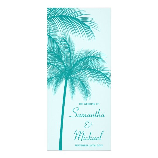 Teal Blue Palm Tree Tropical Wedding Program