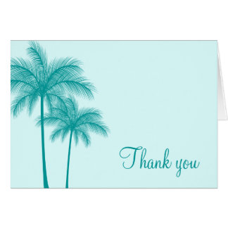Teal Blue Palm Trees Tropical Greeting Card