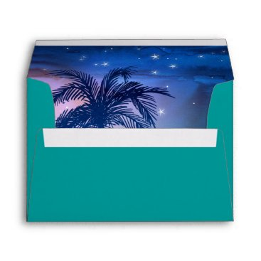 Beach Themed Teal Blue Palm Trees | Tropical Envelope Liner