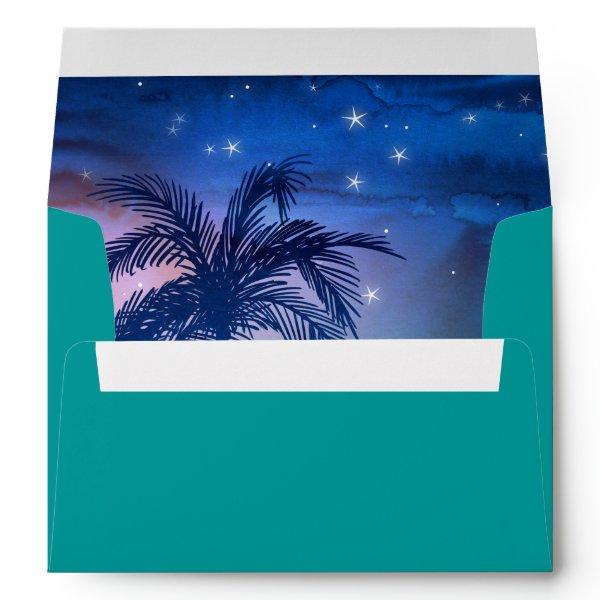 Teal Blue Palm Trees | Tropical Envelope Liner