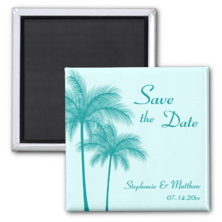 Teal Blue Palm Trees Tropical Save the Date Magnet