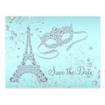 Teal Blue Paris Masquerade Party Save The Date Postcard
