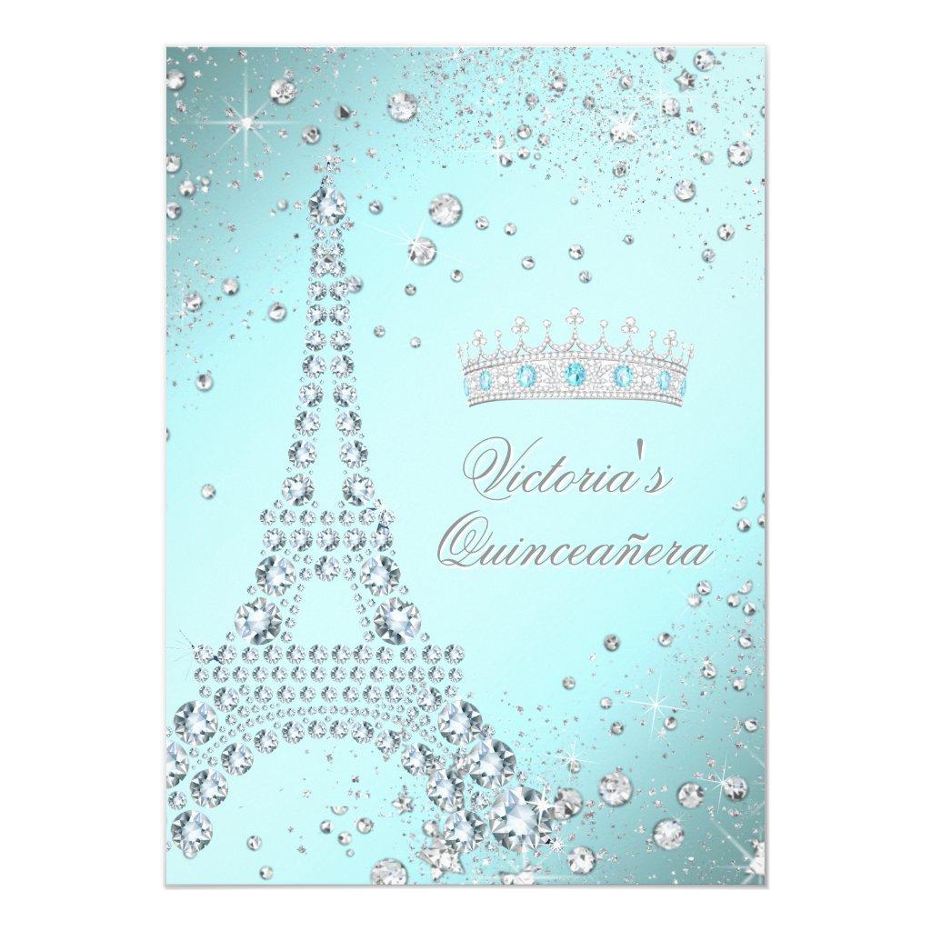 Teal Blue Paris Tiara Quinceanera Invitations