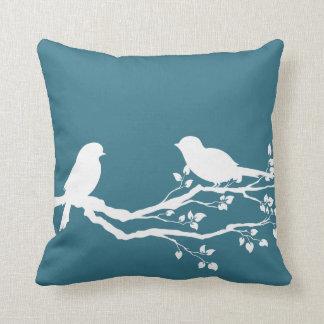 Teal Blue Peaceful Tree Throw Pillow