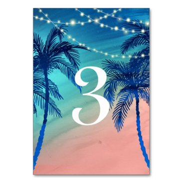 Beach Themed Teal Blue & Peach Palm Tree Table Numbers Card