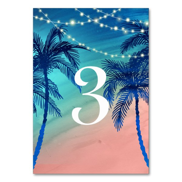 Teal Blue & Peach Palm Tree Table Numbers Card