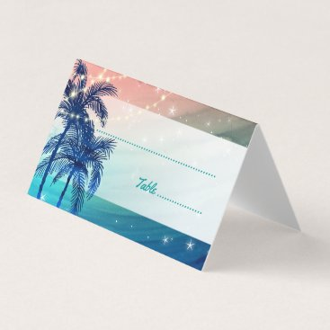 Beach Themed Teal Blue Peach Tropical Beach Wedding Place Cards
