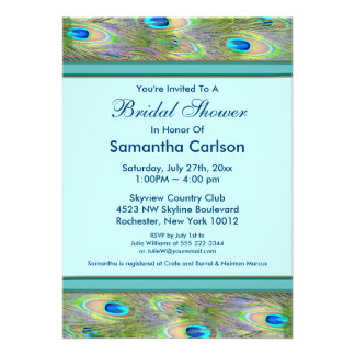 Teal Blue Peacock Bridal Shower Personalized Invite