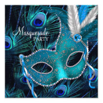 Teal Blue Peacock Mask Masquerade Party Card