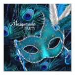 Teal Blue Peacock Mask Masquerade Party Personalized Announcement